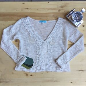 Oatmeal V Neck Pullover Sweater